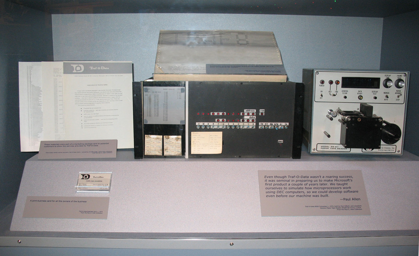 """Bill Gates and Paul Allen's Traf-O-Data computer built by Paul Gilbert in 1974. On display at the """"STARTUP: Albuquerque and the Personal Computer Revolution"""", New Mexico Museum of Natural History and Science. Photo by Michael Holley, April 2007."""